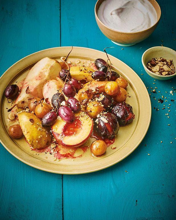 Fruits de saison rôtis, crème fouettée coco