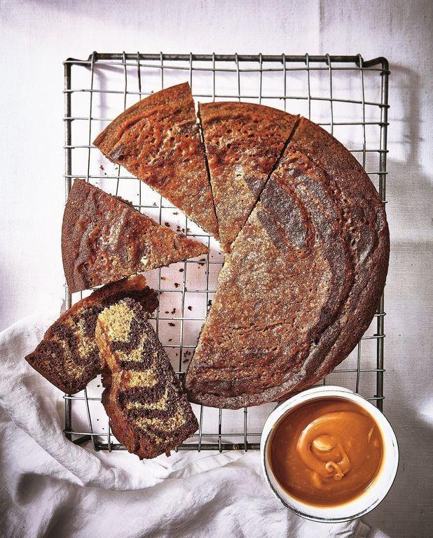 Gâteau marbré zèbre chocolat-caramel au beurre salé