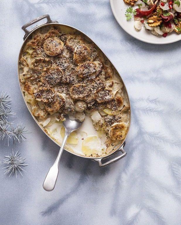 Gratin topinambours-pommes de terre à l'amande et au chèvre