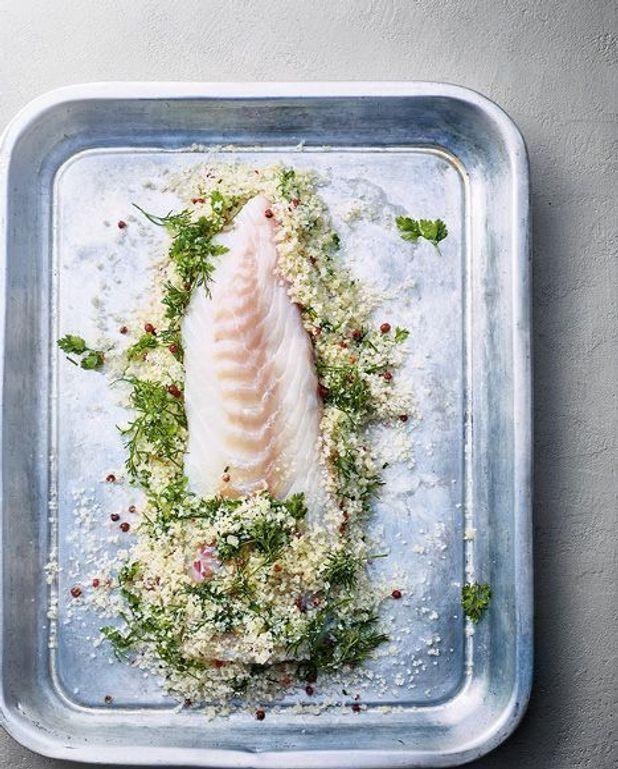Gravlax de poisson blanc aux herbes