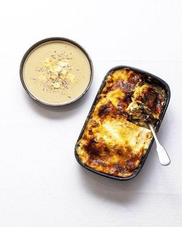 Lasagne à l'époisses, au veau et aux champignons
