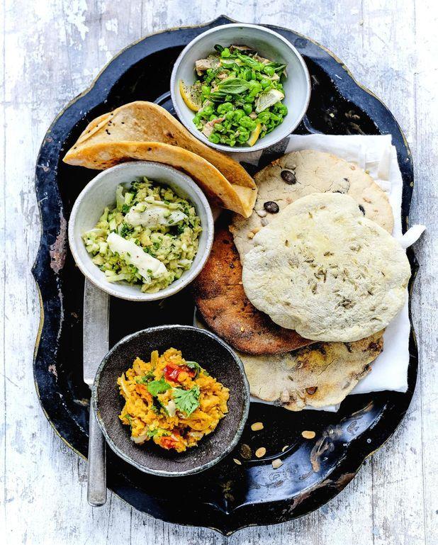 Lentilles au curry, purée de sésame et coriandre