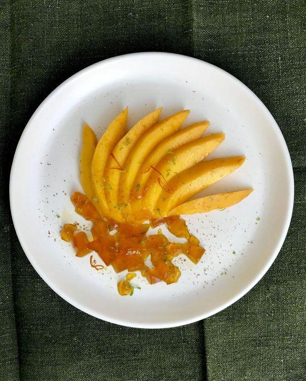 Mangue et gelée au safran