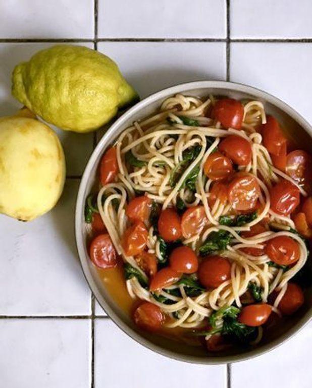One pot pasta spaghetti, tomates-cerises, citron