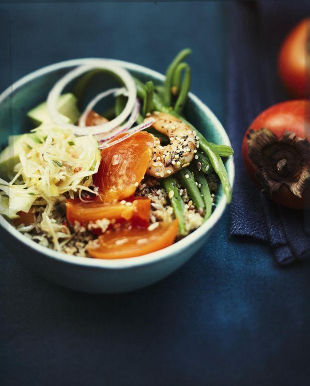 Poke bowl aux kakis et crevettes