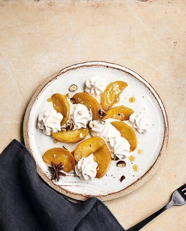 Pommes caramélisées et émulsion de noisette