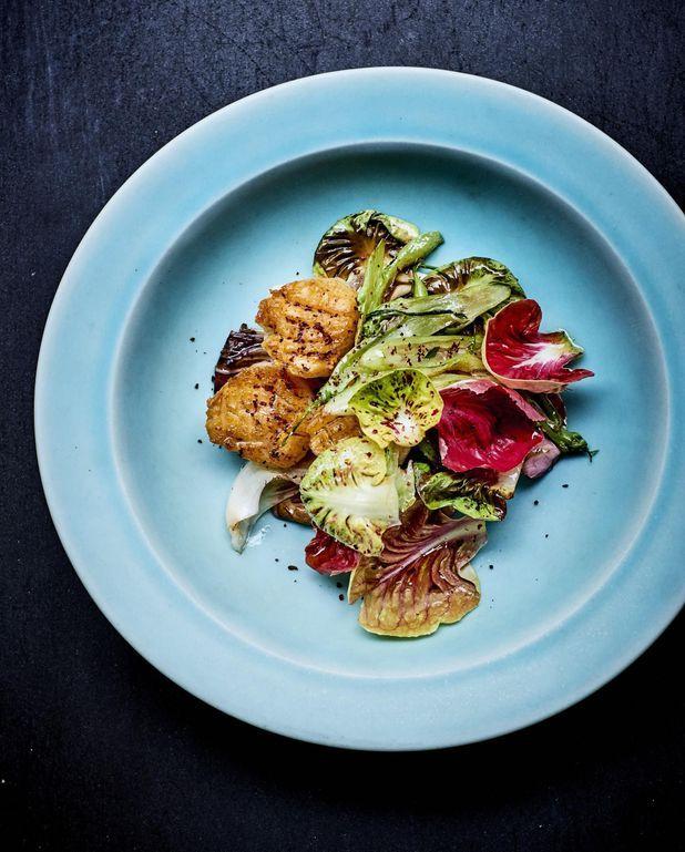 Saint-jacques, salades amères et tahini