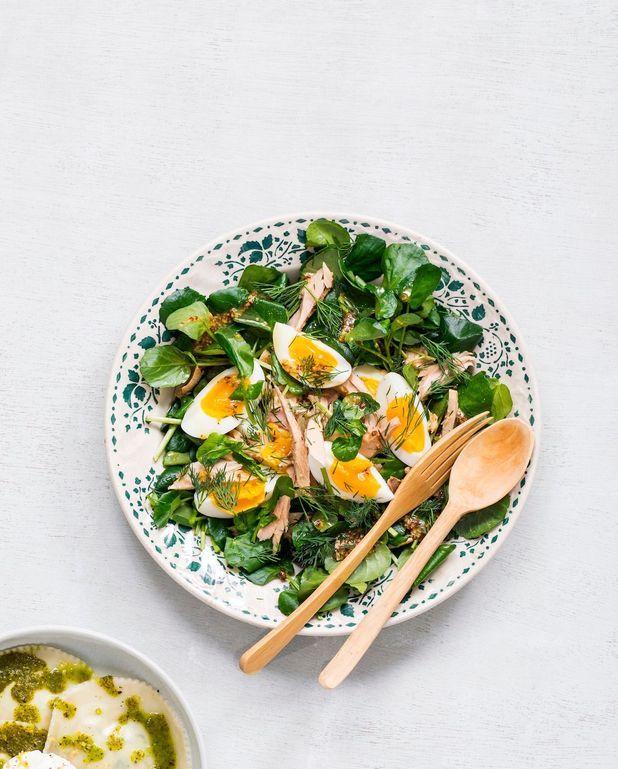 Salade cresson, œufs mollets et thon