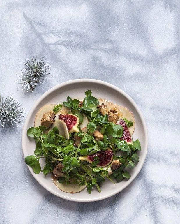 Salade de cresson, foie gras et figues