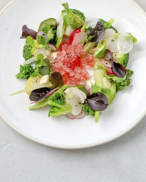 Salade de légumes de printemps, granité de bouillon
