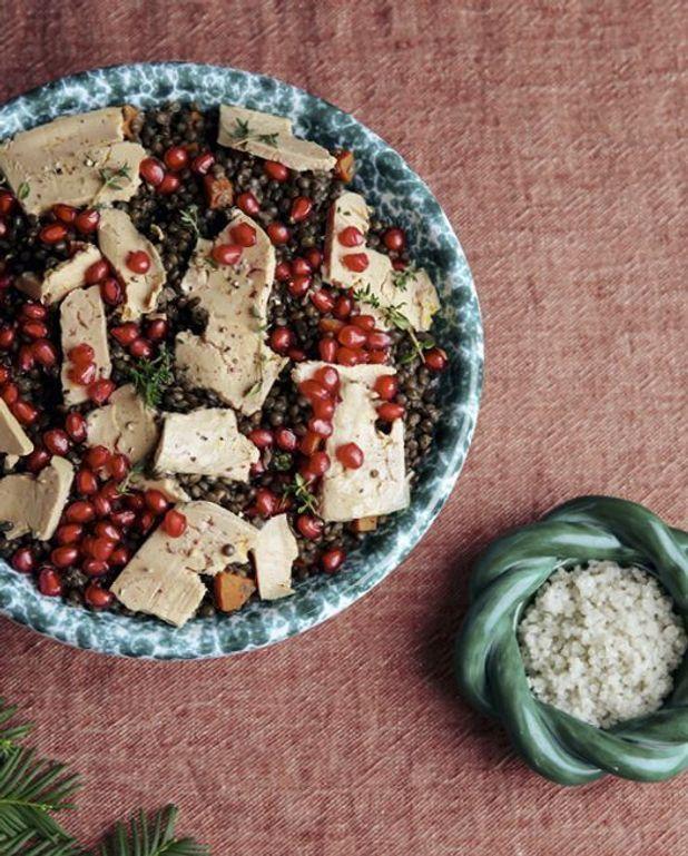 Salade de lentilles au foie gras et à la grenade