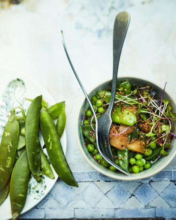 Salade de petits pois, pois gourmands, pamplemousse