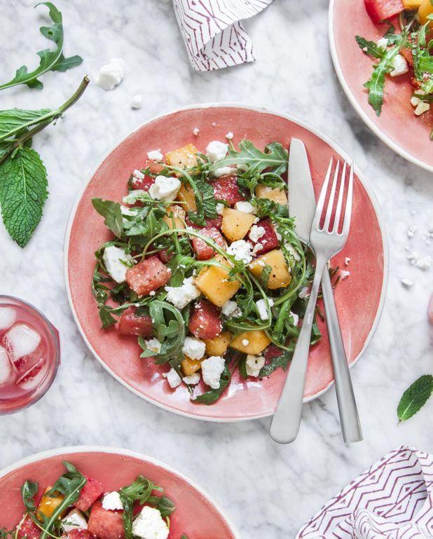 Salade roquette, melon, pastèque, feta et menthe