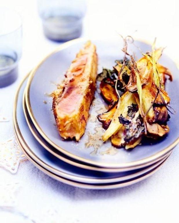 Saumon grillé en croûte de riz et mille-feuille de légumes