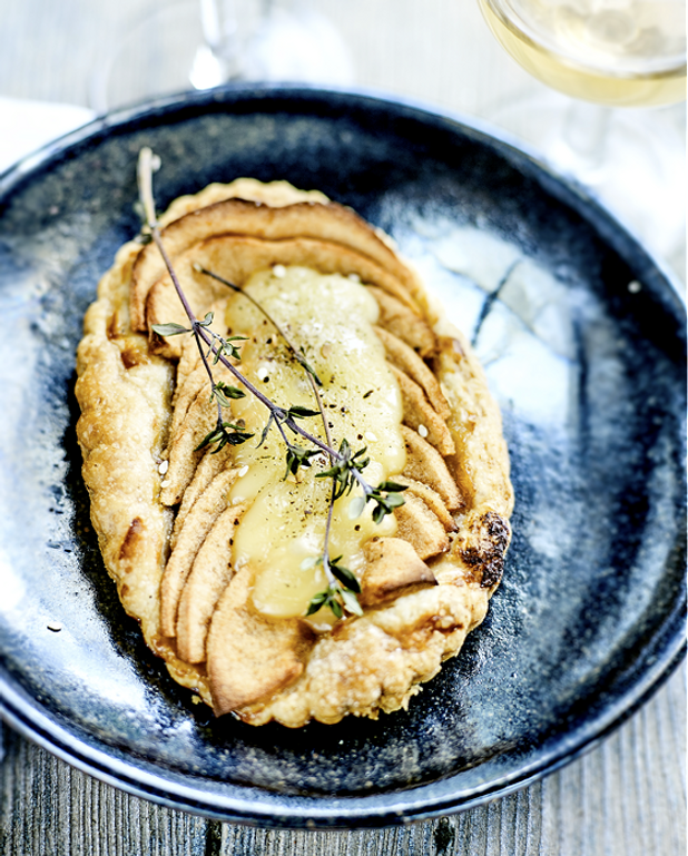 Tartelettes pommes, maroilles et thym citron