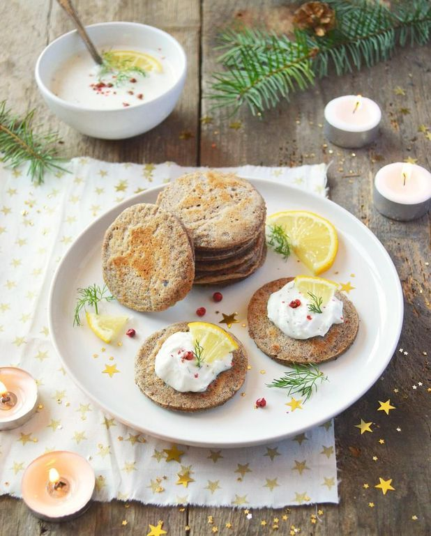 Blinis de sarrasin vegan et cheese cream