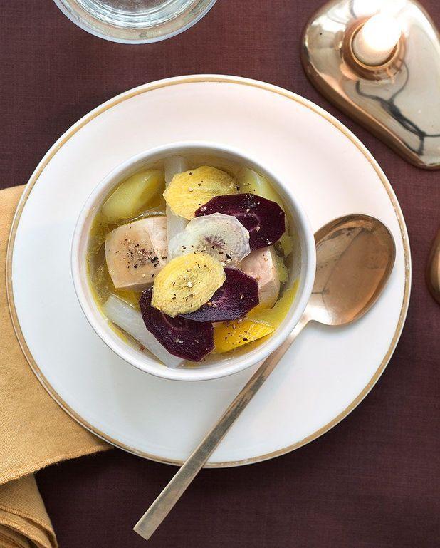 Foie gras et légumes au bouillon