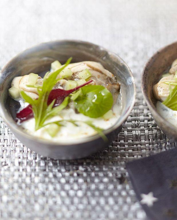 Huîtres en gelée, yaourt à la réglisse d'Anne-Sophie Pic