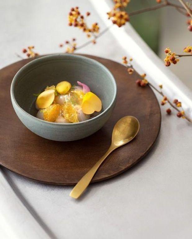 Litchis et mandarines satsuma, gelée de tagète