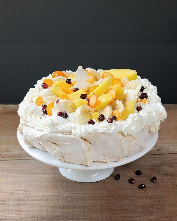 Pavlova exotique mangue kumquat banane