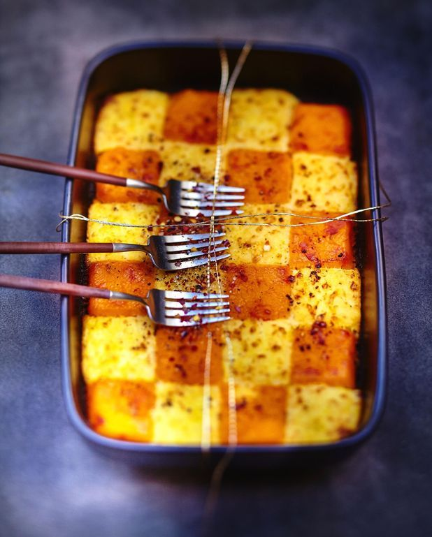 Purées de pommes de terre et potimarron au gingembre