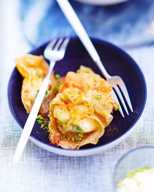 Ravioles de langouste, crème lemon curd wasabi