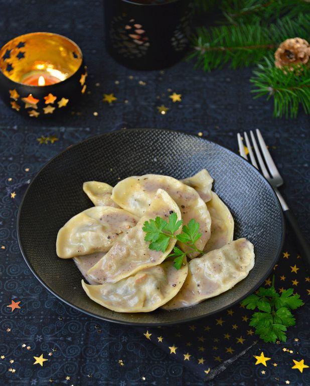 Ravioles de seitan, sauce aux champignons