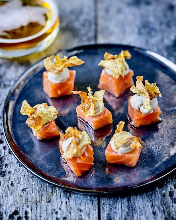 Saumon gravelax et pulpe d'artichauts