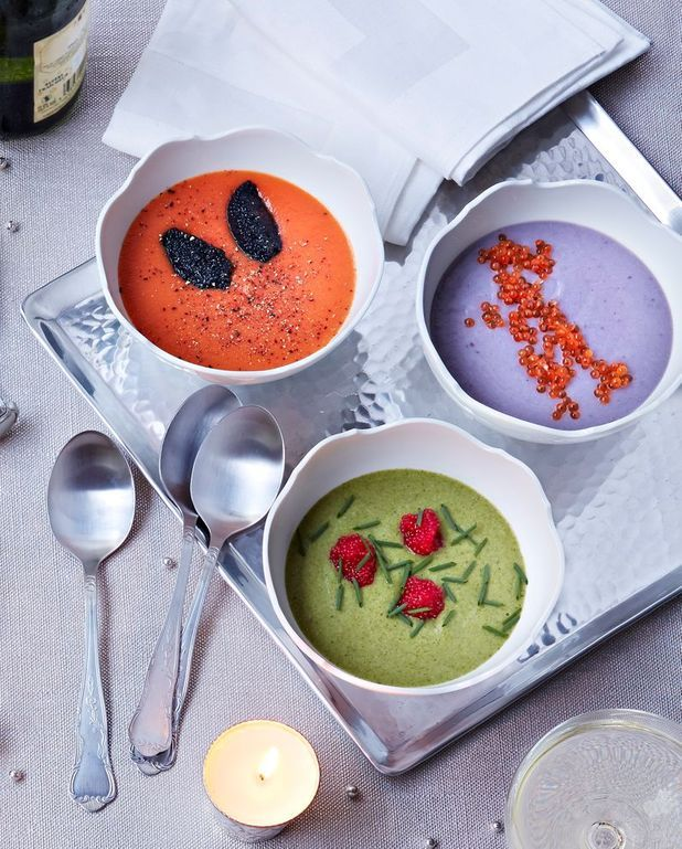 Veloutés colorés de potiron, panais et brocoli