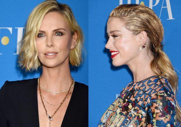 Charlize Theron, Amber Heard : superbes, les cheveux ondulés à la soirée de la HFPA