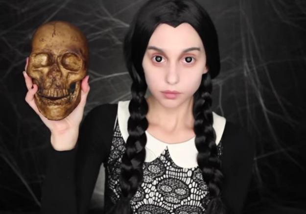 Maquillage Halloween : Mercredi Addams