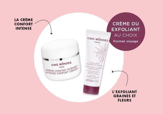 En cadeau avec votre magazine ELLE : Votre soin visage crème ou exfoliant Cinq Mondes