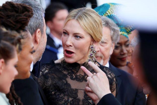 La présidente du jury, Cate Blanchett fait la grimace