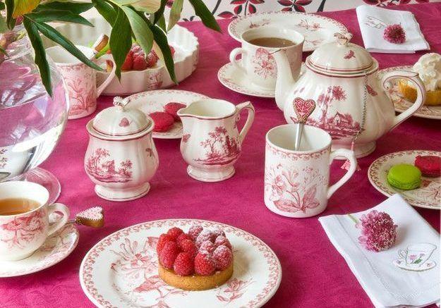 Un tea time rose et fleuri, très british