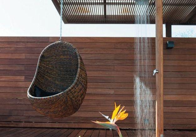 Douche de jardin en teck