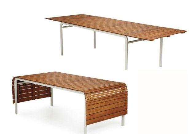 Une table de jardin modulable
