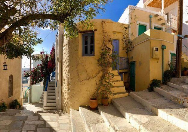 Une maison cycladique à Syros en Grèce