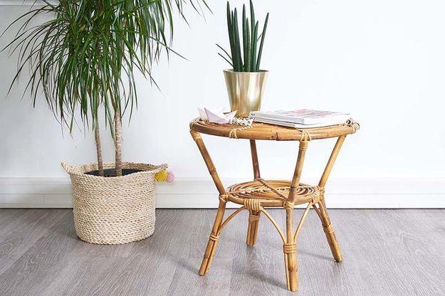 Table d'Appoint en Bambou et Rotin (1960s)