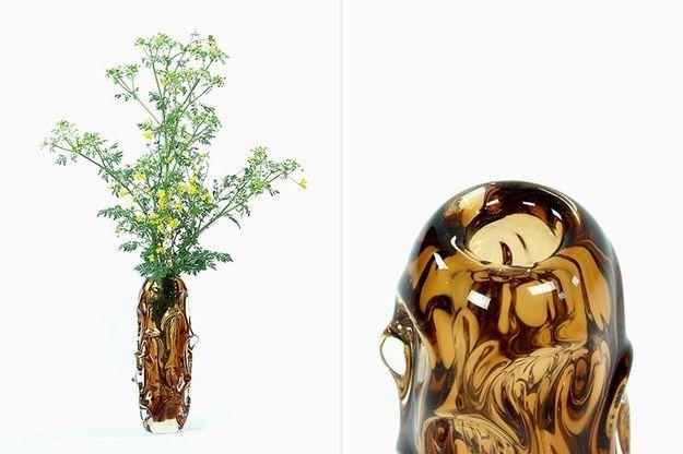 Vase en Verre Ambré par Jan Beranek pour Škrdlovice (1959)