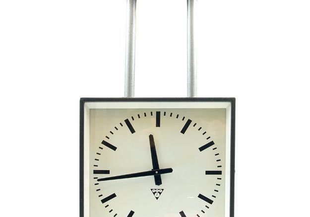 Horloge de Gare de Plafond Double Face de Pragotron, 1970s