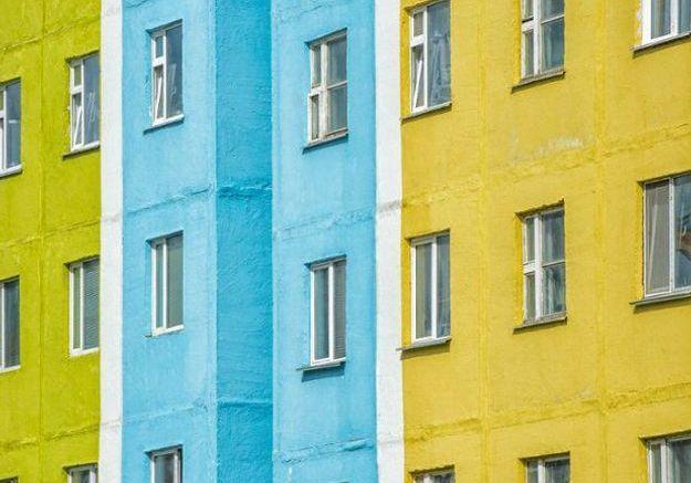 Maison colorée à Anadyr, Russie