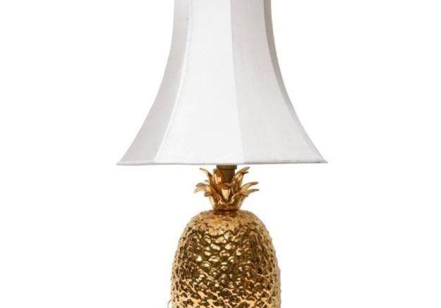 Lampe de Bureau Pineapple en Céramique Dorée, 1970s