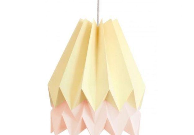 Abat Jour Rose et Jaune Origami par Orikomi