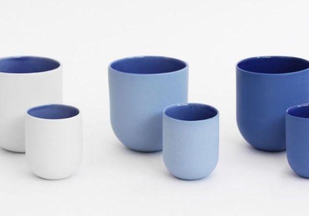 Tasses Sum avec Finition Bleu Doux par De Intuïtiefabriek, Set de 4