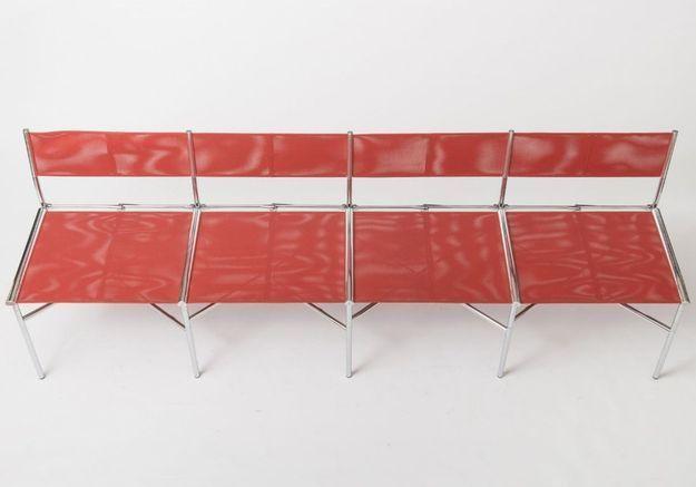 Chaises de Meeting Batyline Corail par Laurence Humier, Set de 4