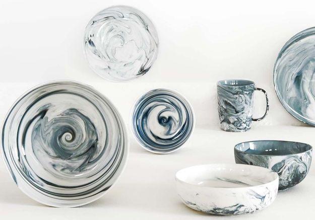 Service de table en porcelaine effet marbre Habitat