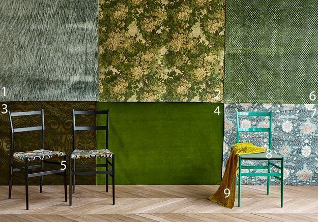 Des tissus en velours verts