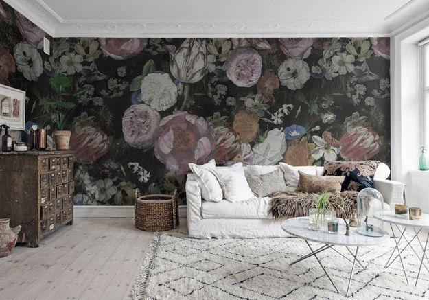 Une déco fleurie via un papier peint panoramique