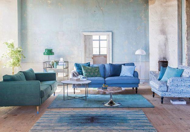 Un salon au total look bleu assumé
