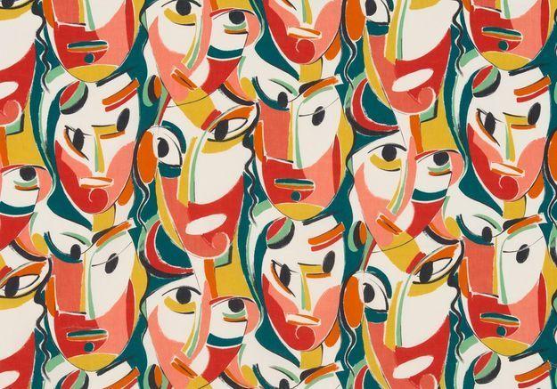 Un tissu aux masques colorés